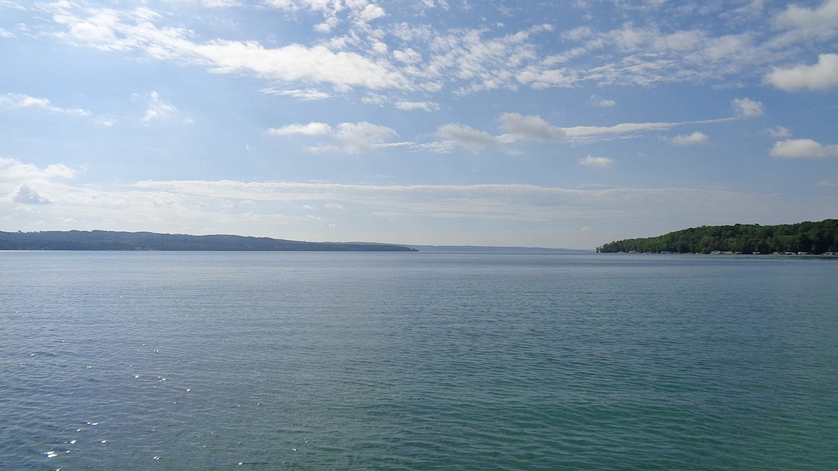 The long and deep Torch Lake in Michigan