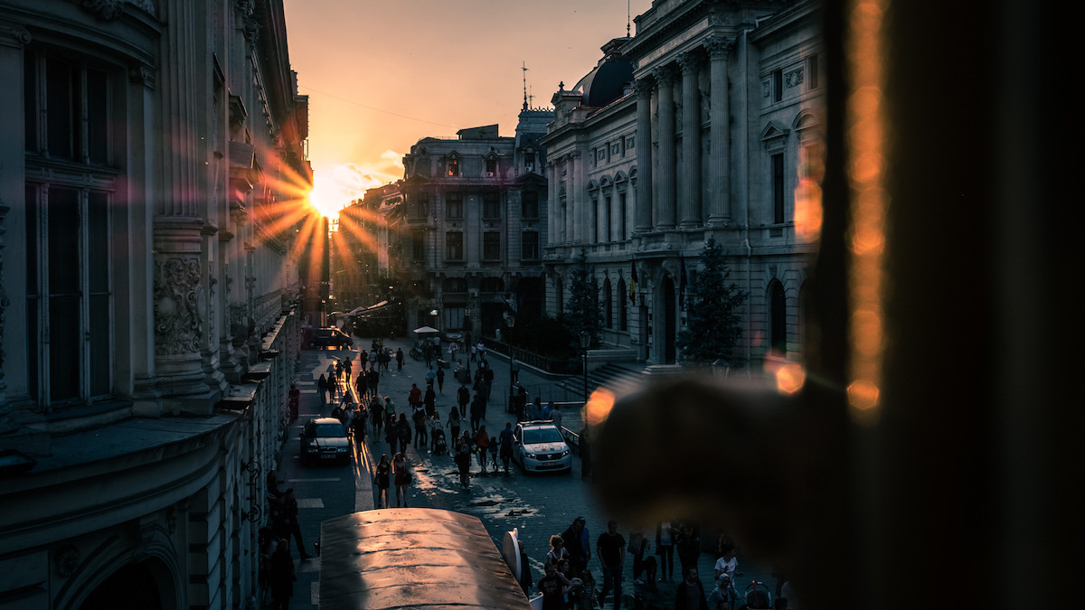 Gorgeous sunset in the old town of Bucharest, Romania