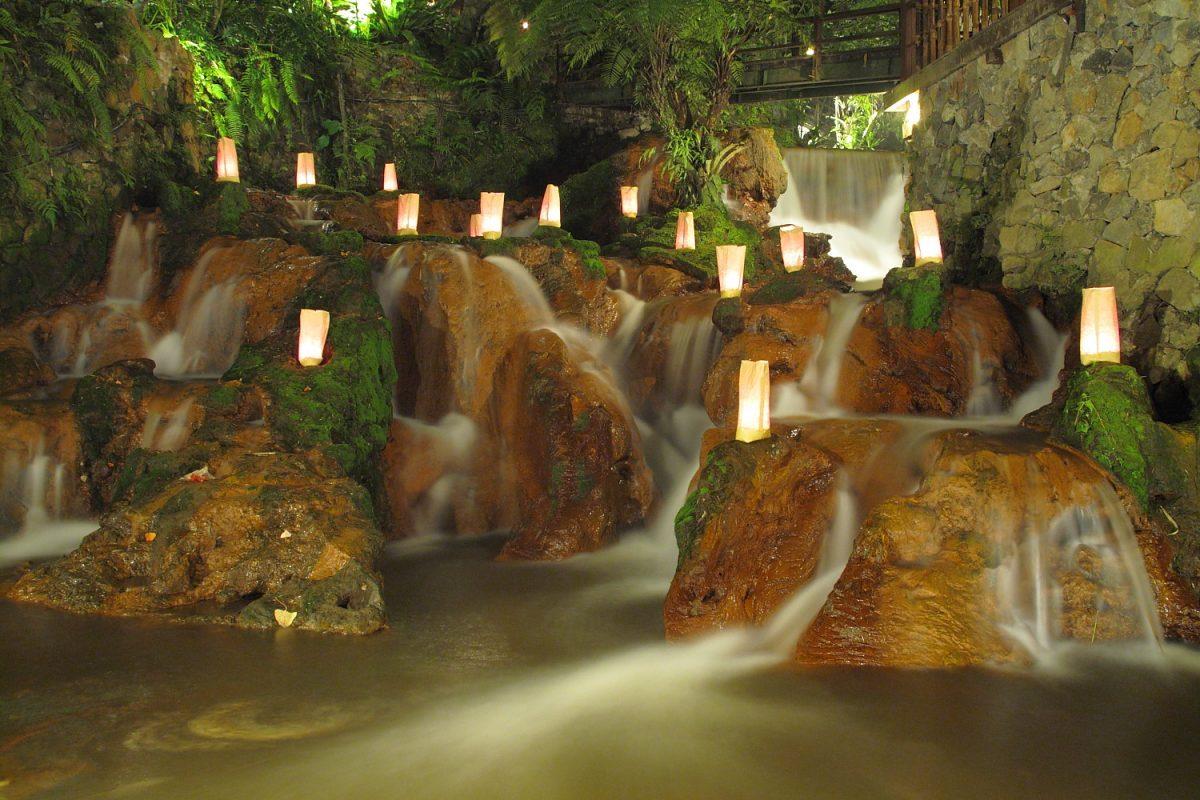 the famous waterfall in Kampung Daun at night