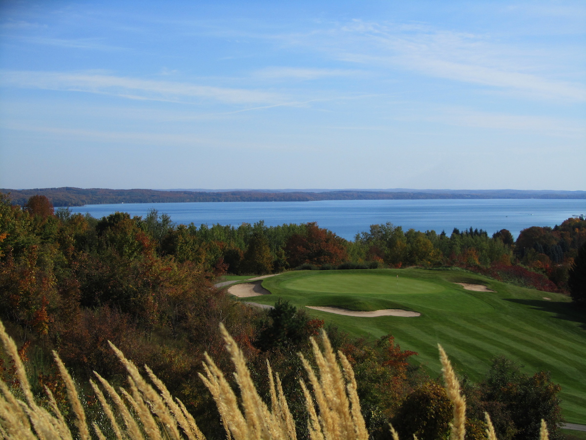 The scenic view of A-Ga-Ming golf club in Torch Lake, Michigan