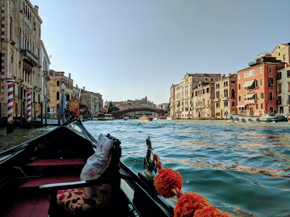 A gondola ride overlooking the grand canal and the views of Dorsoduro and San Marco