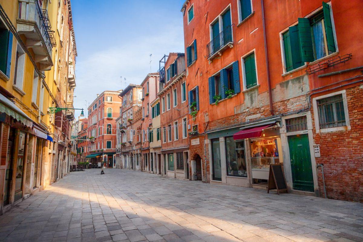 Old street in Castello, Venice, Italy