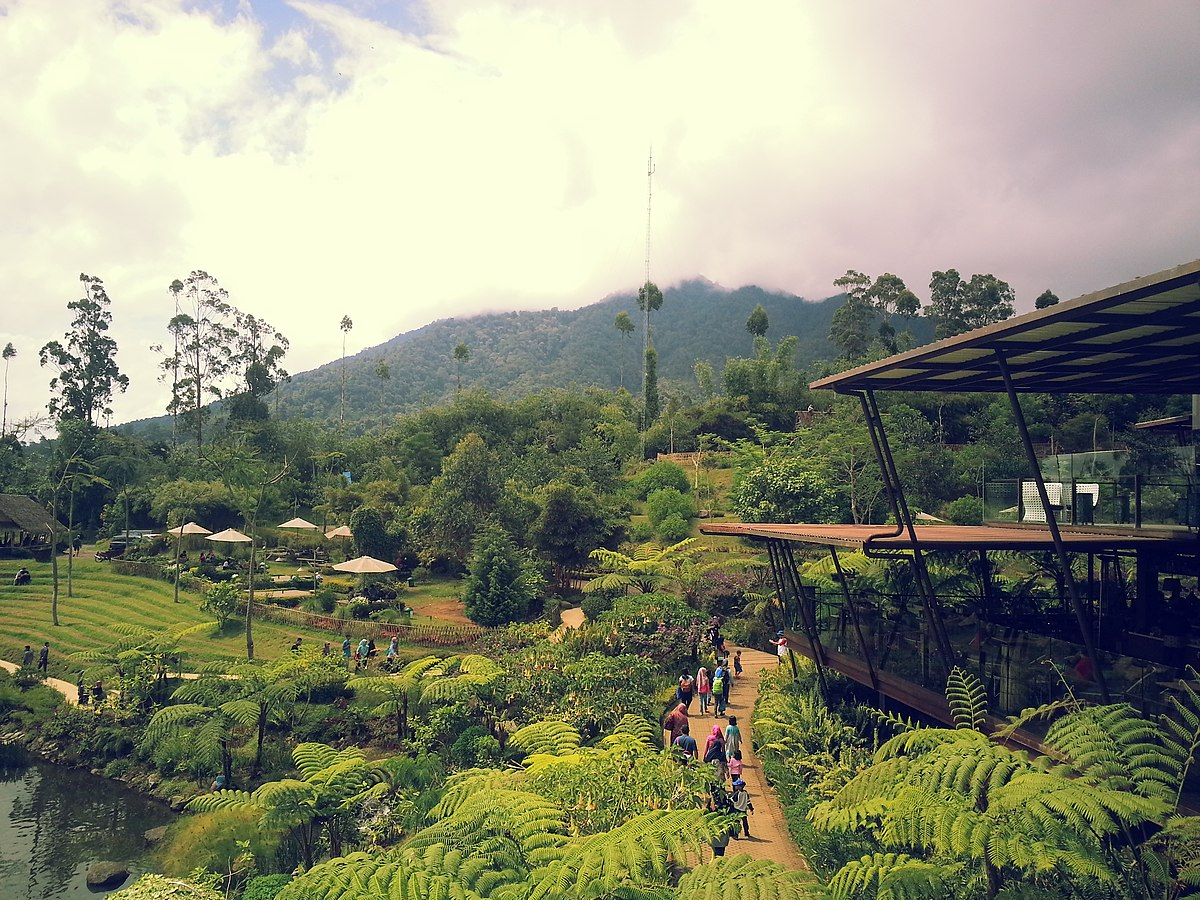 photo of Dusun Bambu on a cloudy day showing the lush foliage and trees
