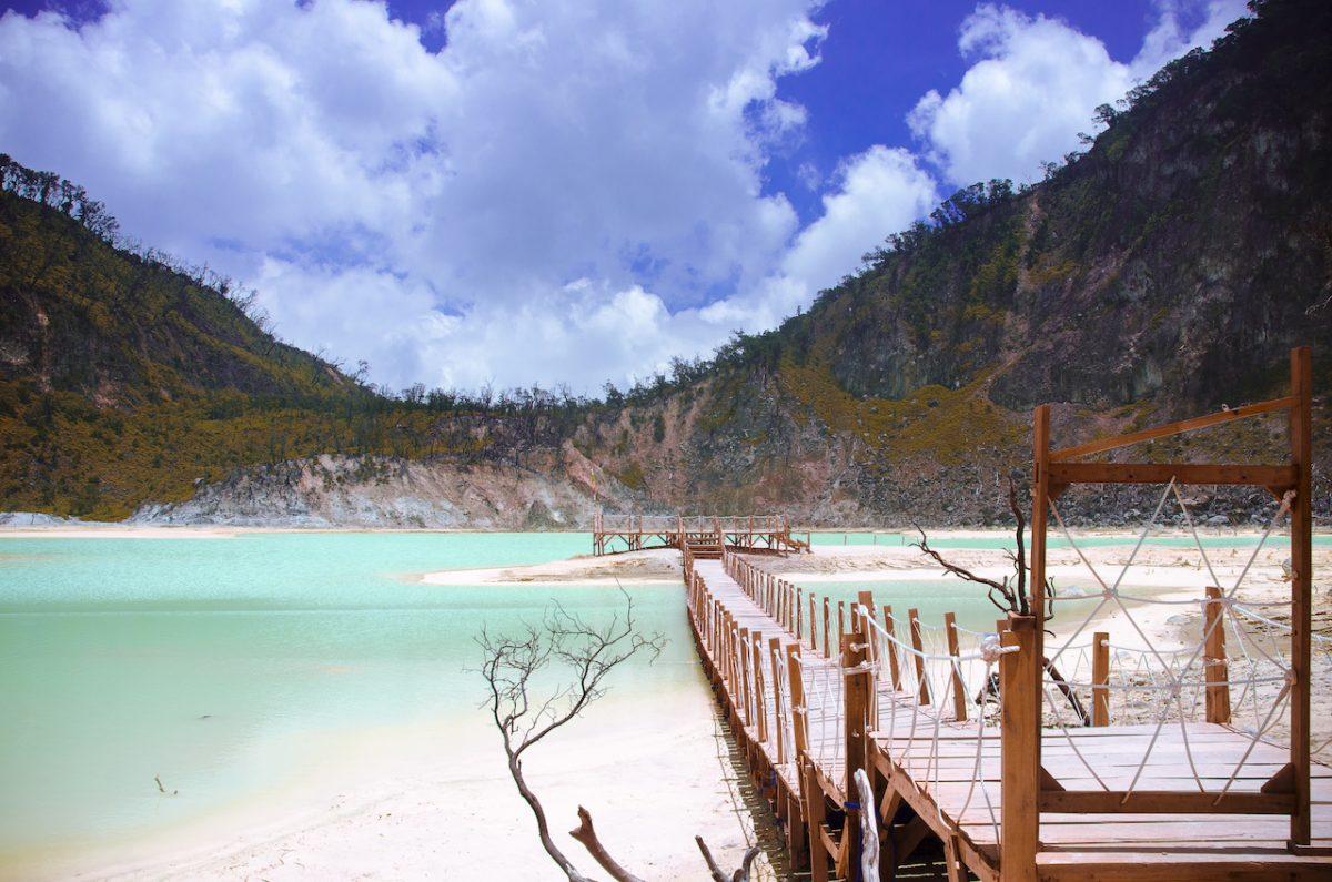 Lake in mountain, Kawah Putih, Ciwidey, Bandung, West Java, Indonesia