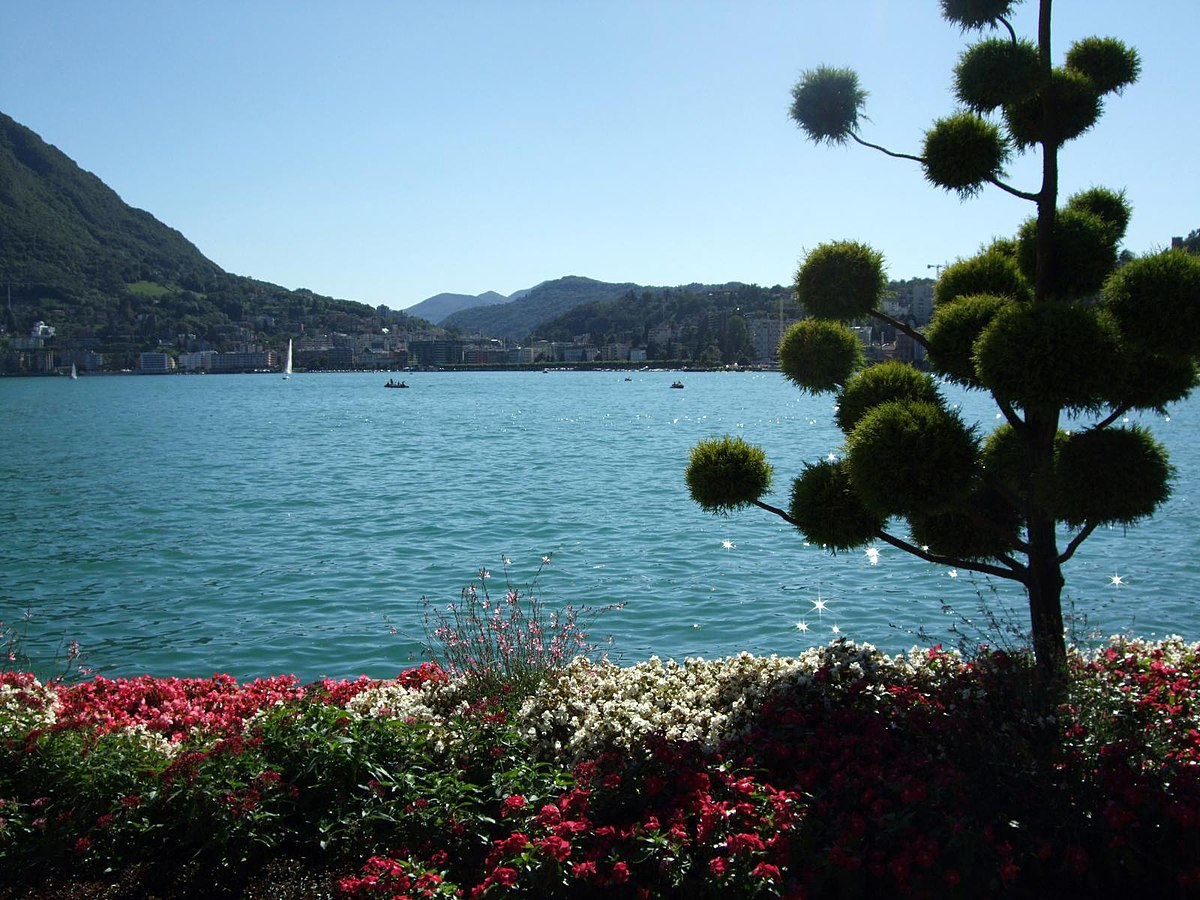 Lake view from Parco Civico-Ciani on a bright sunny day