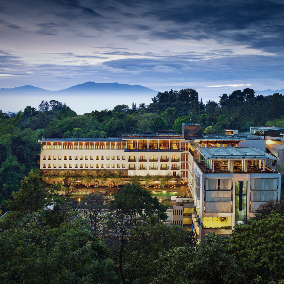 drone shot of the entire property of Padma Hotel Bandung