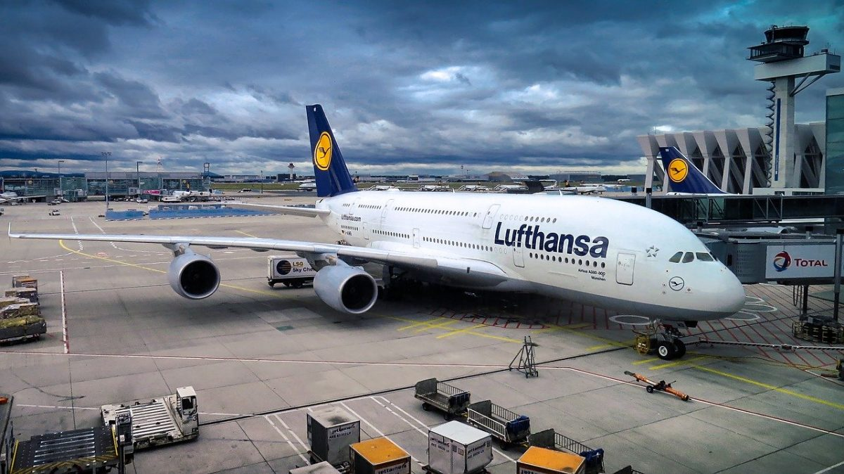 photo of the Lufthansa airbus parked at the airport