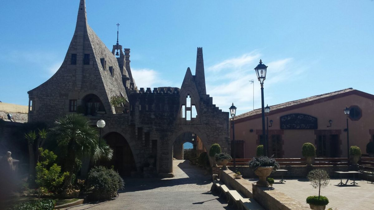 A shot of Gaudi's Bodegas Guell in Sitges, Spain