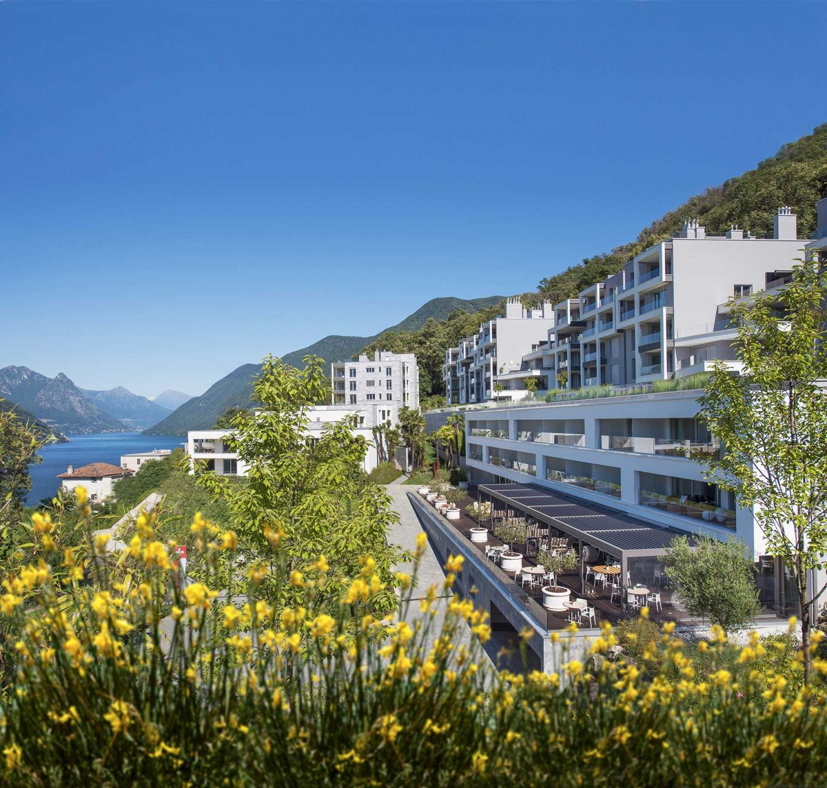 The exterior of The View Lugano on a sunny day