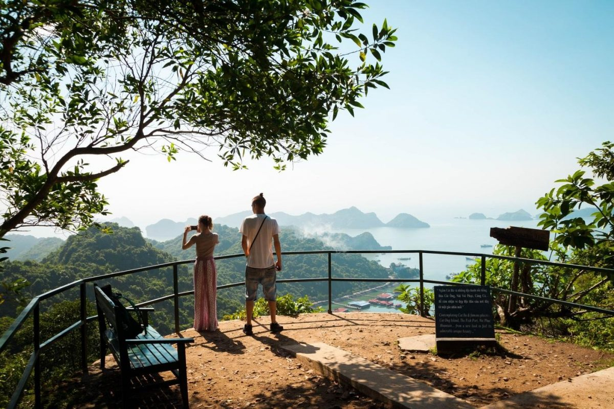 Tourists at a viewpoint at Cat Ba National Park