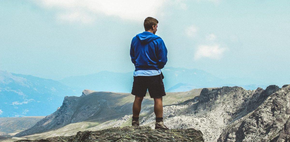 Man hiking on the Smoky Mountains