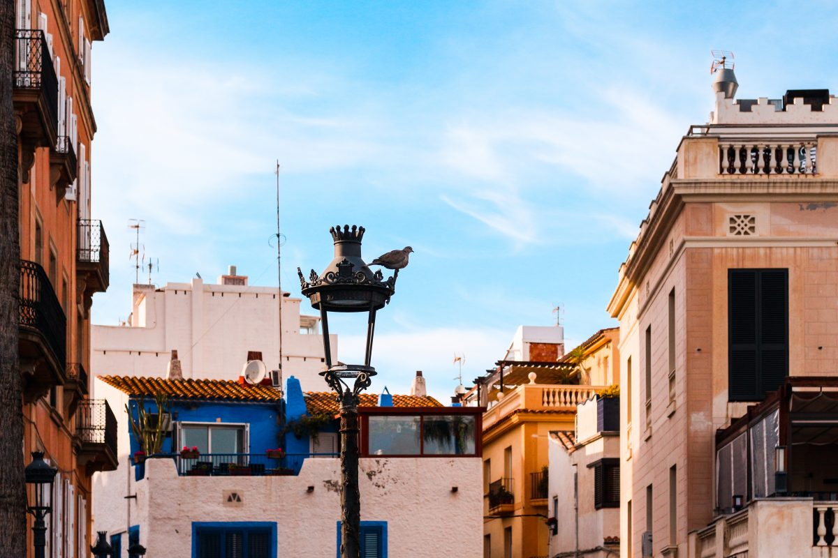 A bird perches on a light post surrounded by charming houses in Old Town, Sitges, Spain