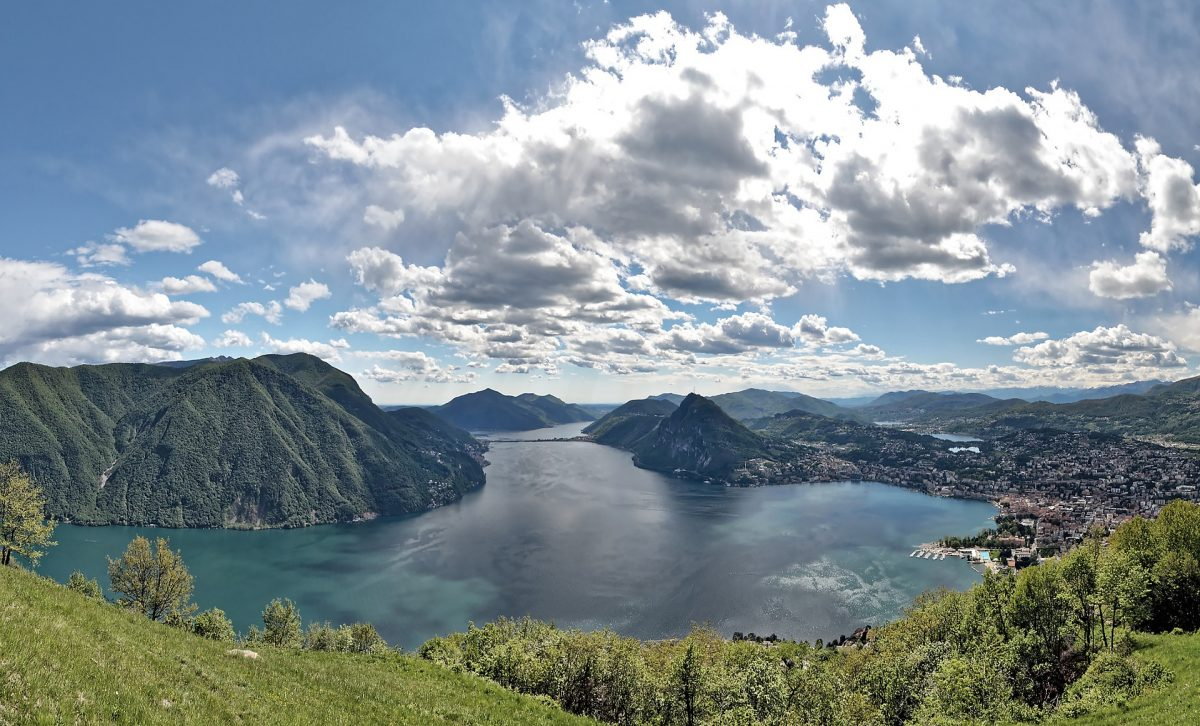 View of Lake Lugano from Monte Bre