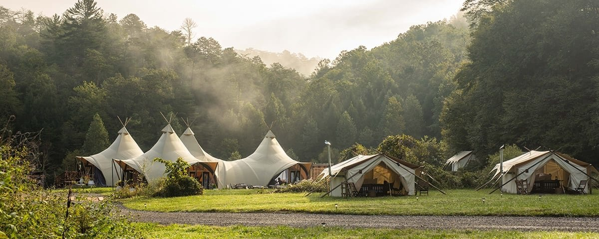 Tents set up in the camping grounds at the Smoky Mountains