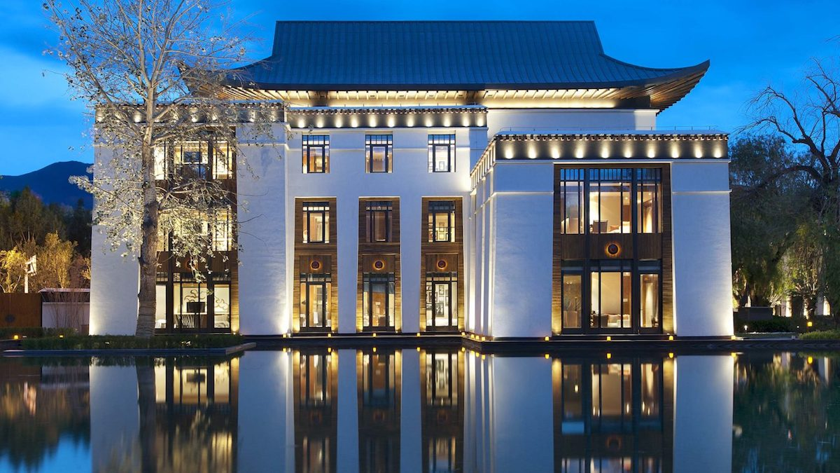Stunning facade of St. Regis Lhasa Resort in China