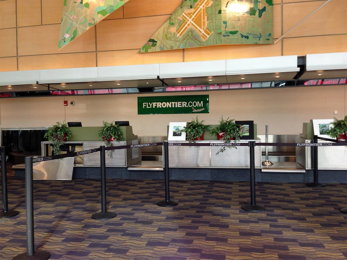 Frontier Airlines counters at Bradley Airport