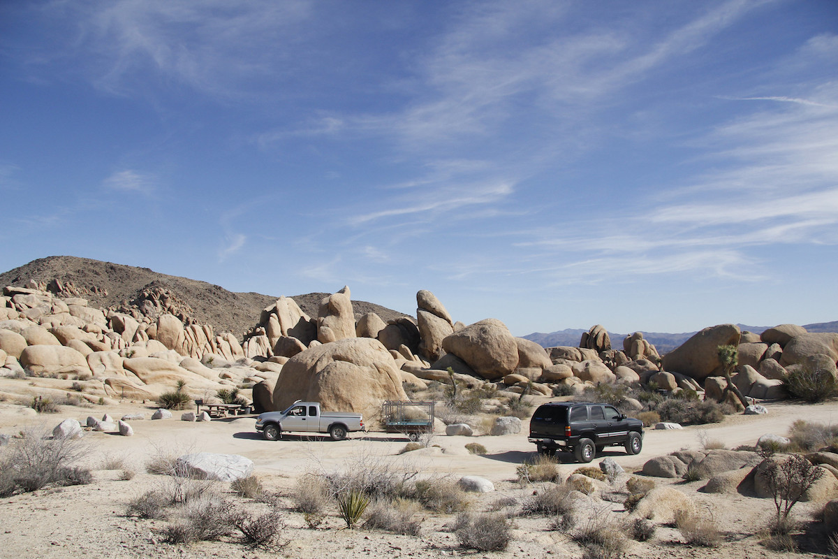 The giant granite boulders in White Tank Campground