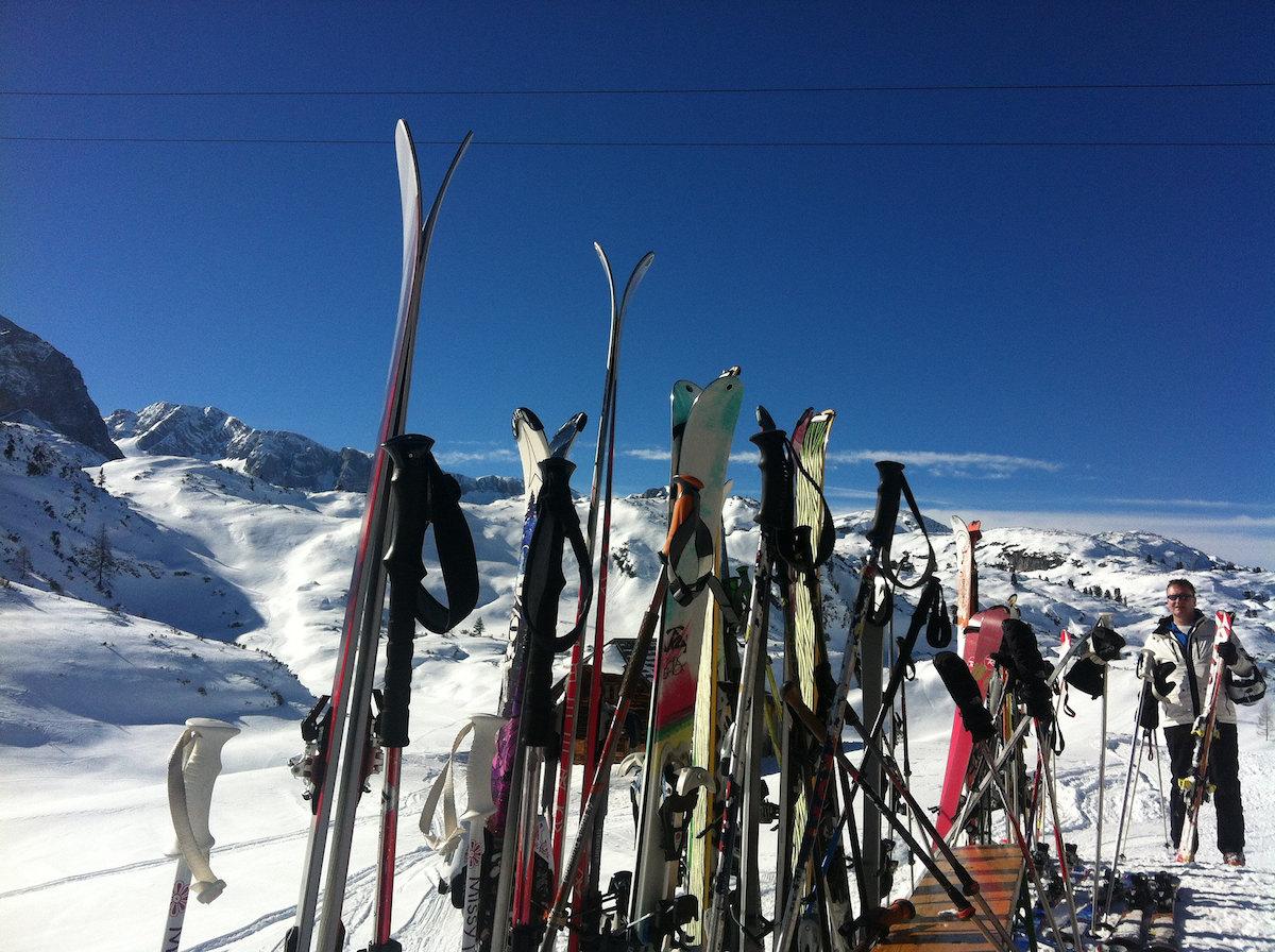 Snowboards lined up on Dachstein Ski Resort in Hallstatt Austria
