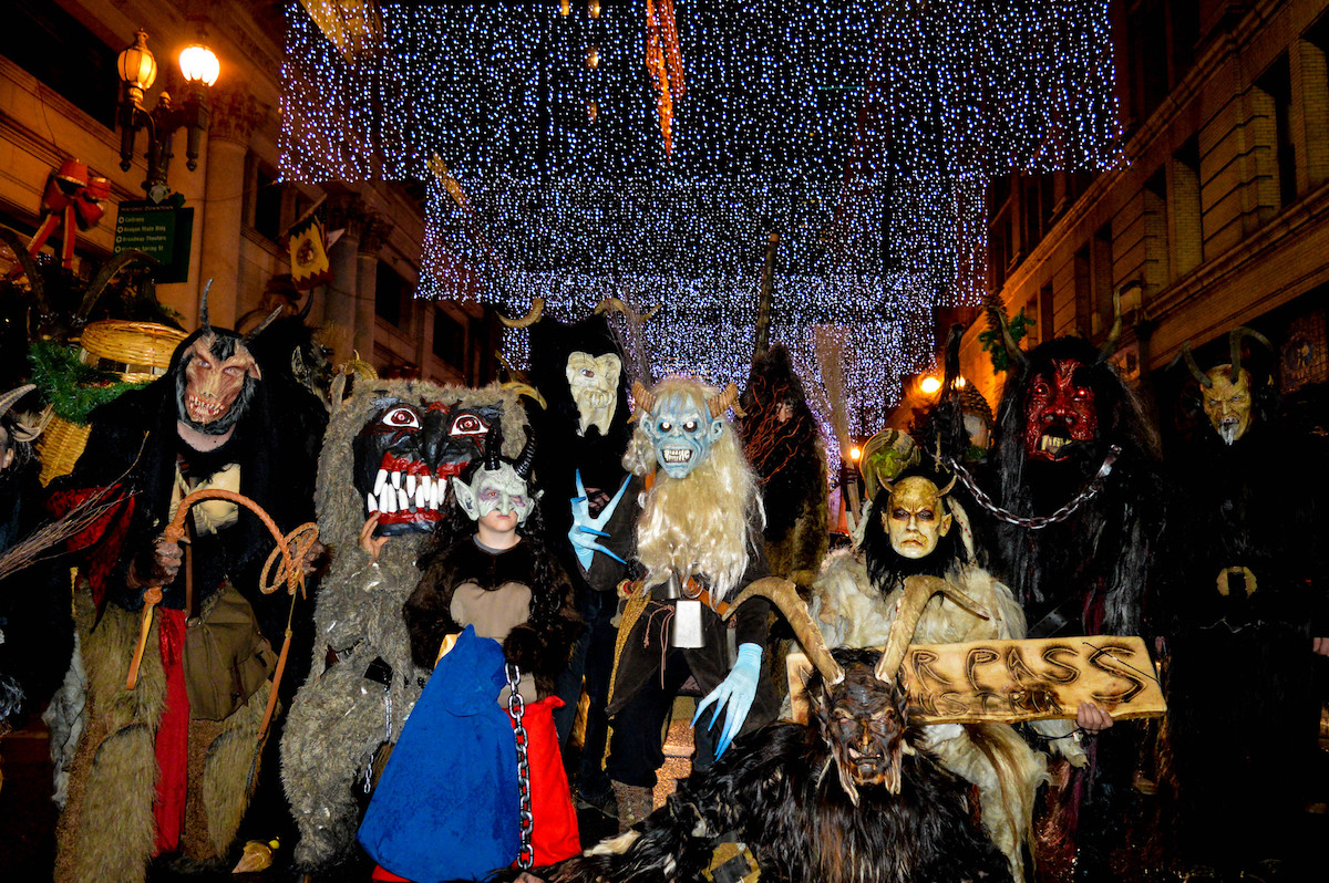 Locals dressed with scary costumes during Krampus Run