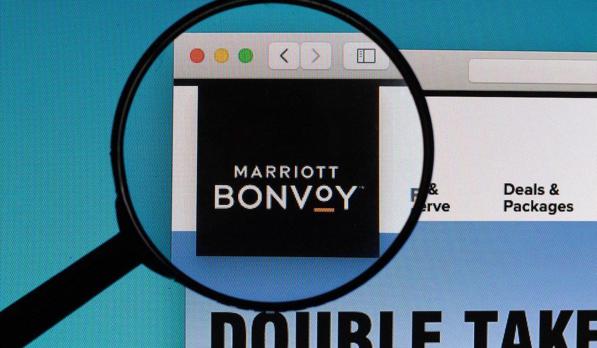 Marriott Bonvoy logo under magnifying glass