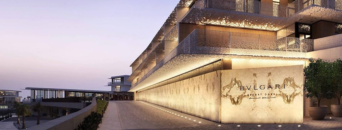 Gorgeous facade of Bvlgari Resort in Dubai