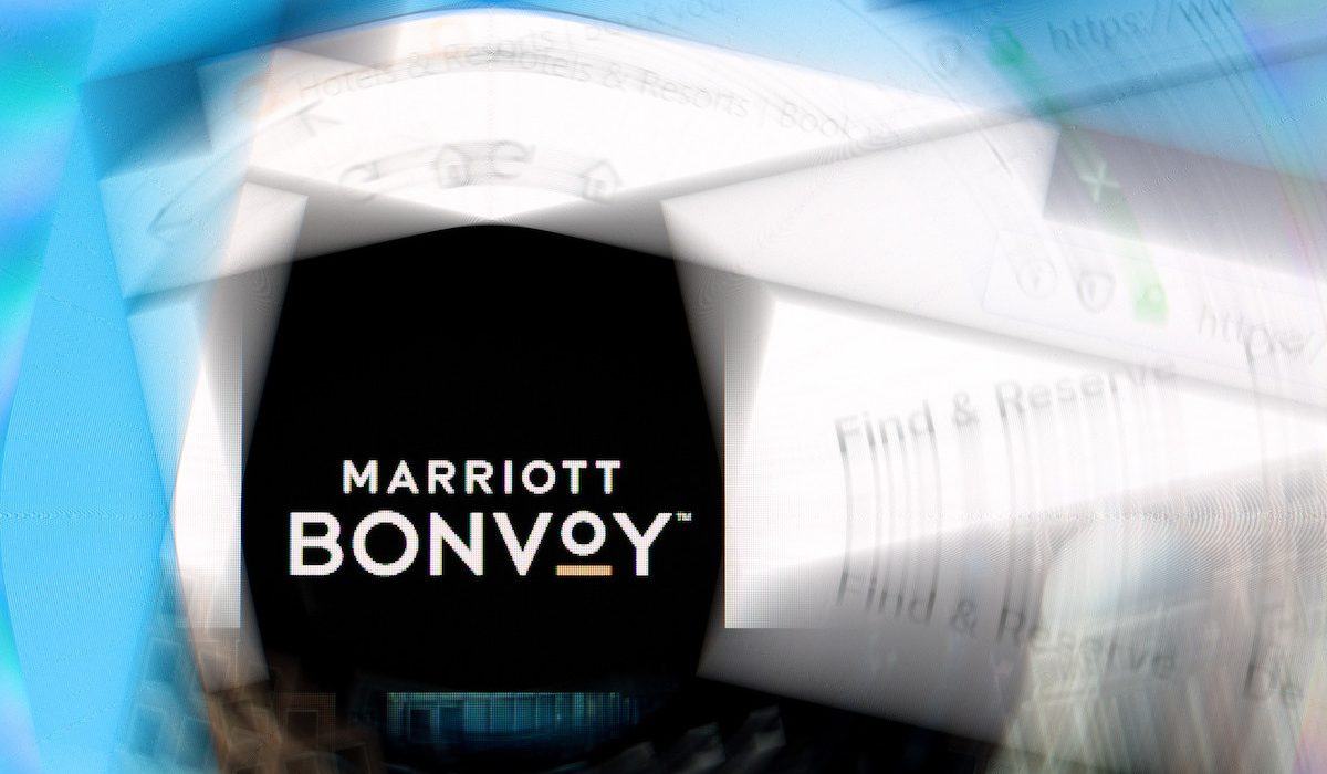 Marriott Bonvoy logo on company website with ripple effect