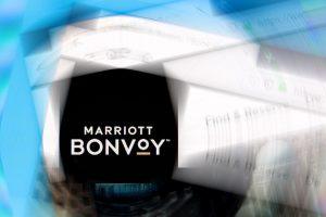 Marriott Bonvoy logo on company website with ripple effect