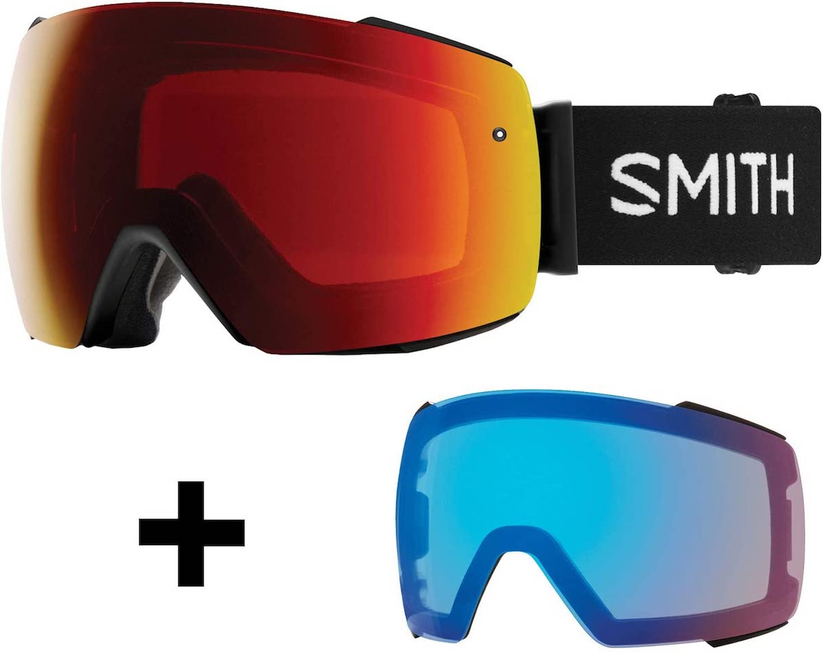 Smith I/O Mag Snow Goggle Black w/ ChromaPop Sun Red Mirror and CP Storm Rose Flash Lens