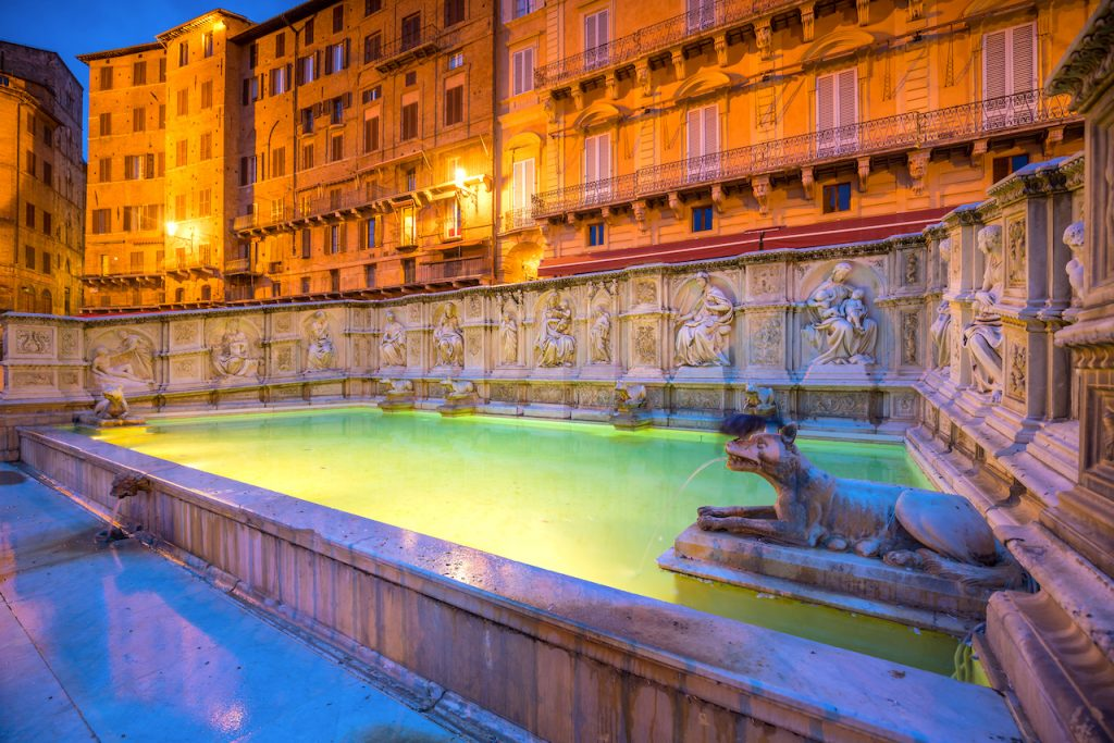Fonte gaia, fountain of Piazza del Campo, in Siena, Tuscany, Italy