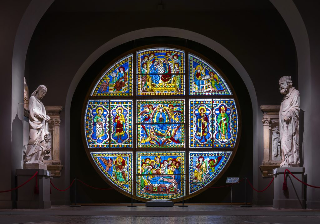 Museo dell'Opera del Duomo, stained-glass rose window in Siena Italy
