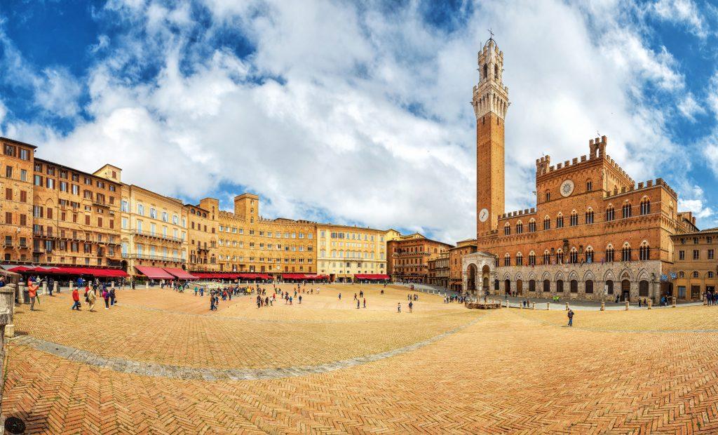 Piazza del Campo, a public square in Siena Italy