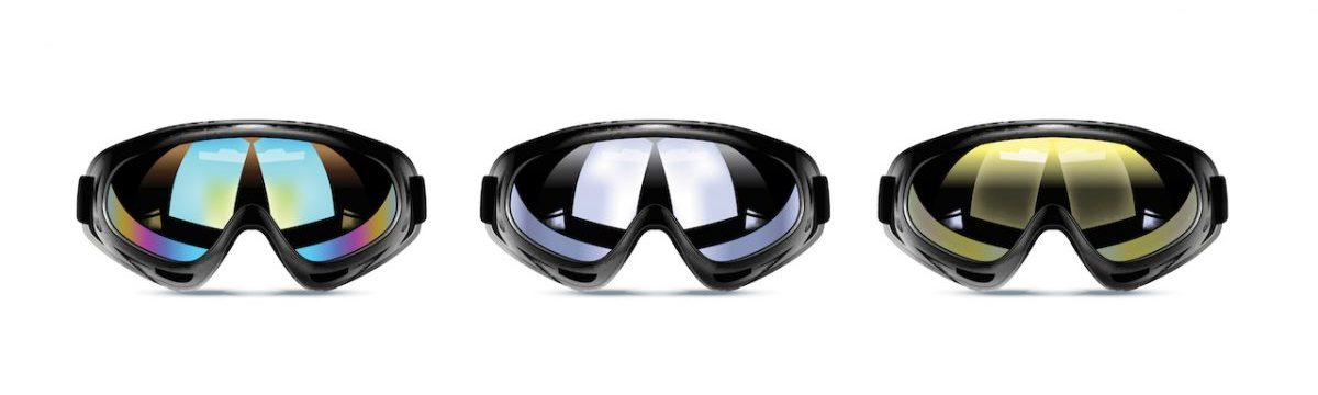 Different ski goggles tints