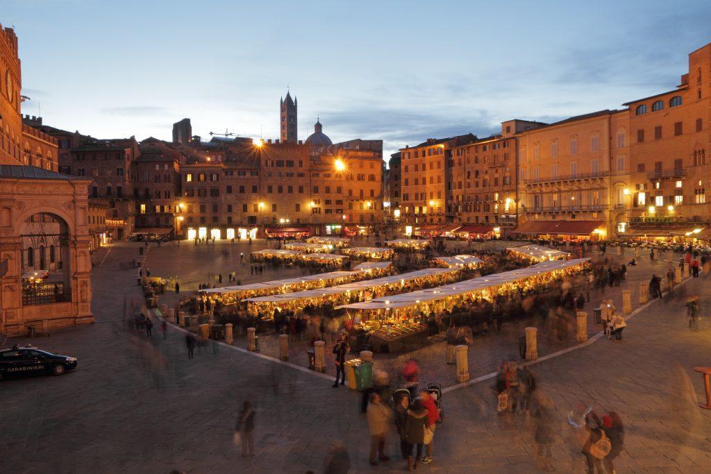 christmas market, medieval market in Siena, Tuscany, Italy