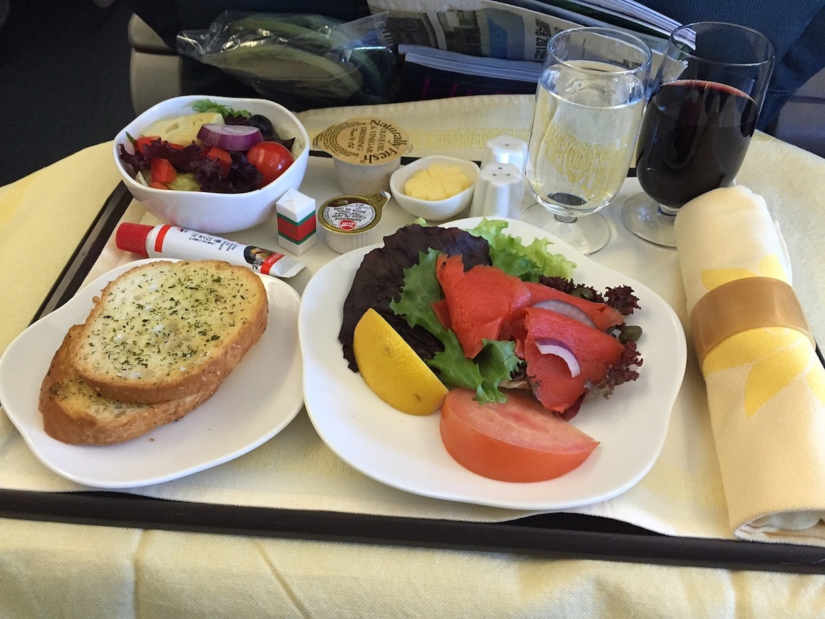 A spread of in-flight meal