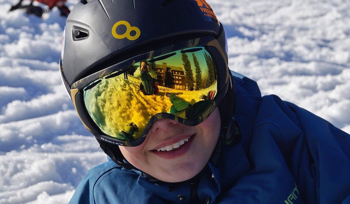 Front shot of ski goggles over helmet