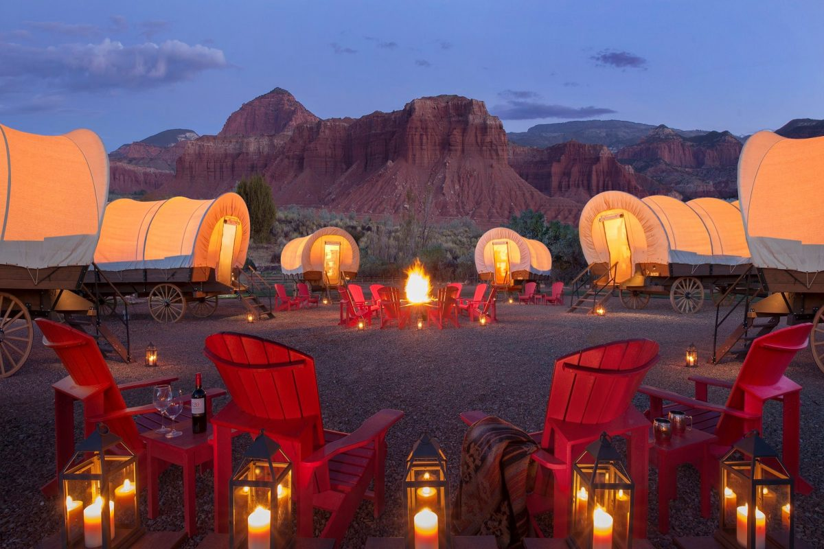 Capitol Reef Resort's famous wagon-shaped glamping accommodations