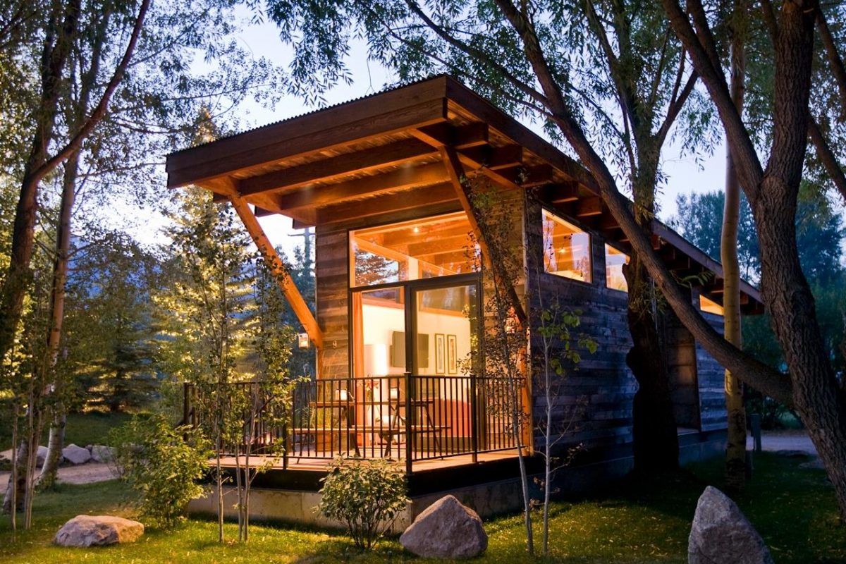 Fireside Resort's wedge cabin against the outdoors