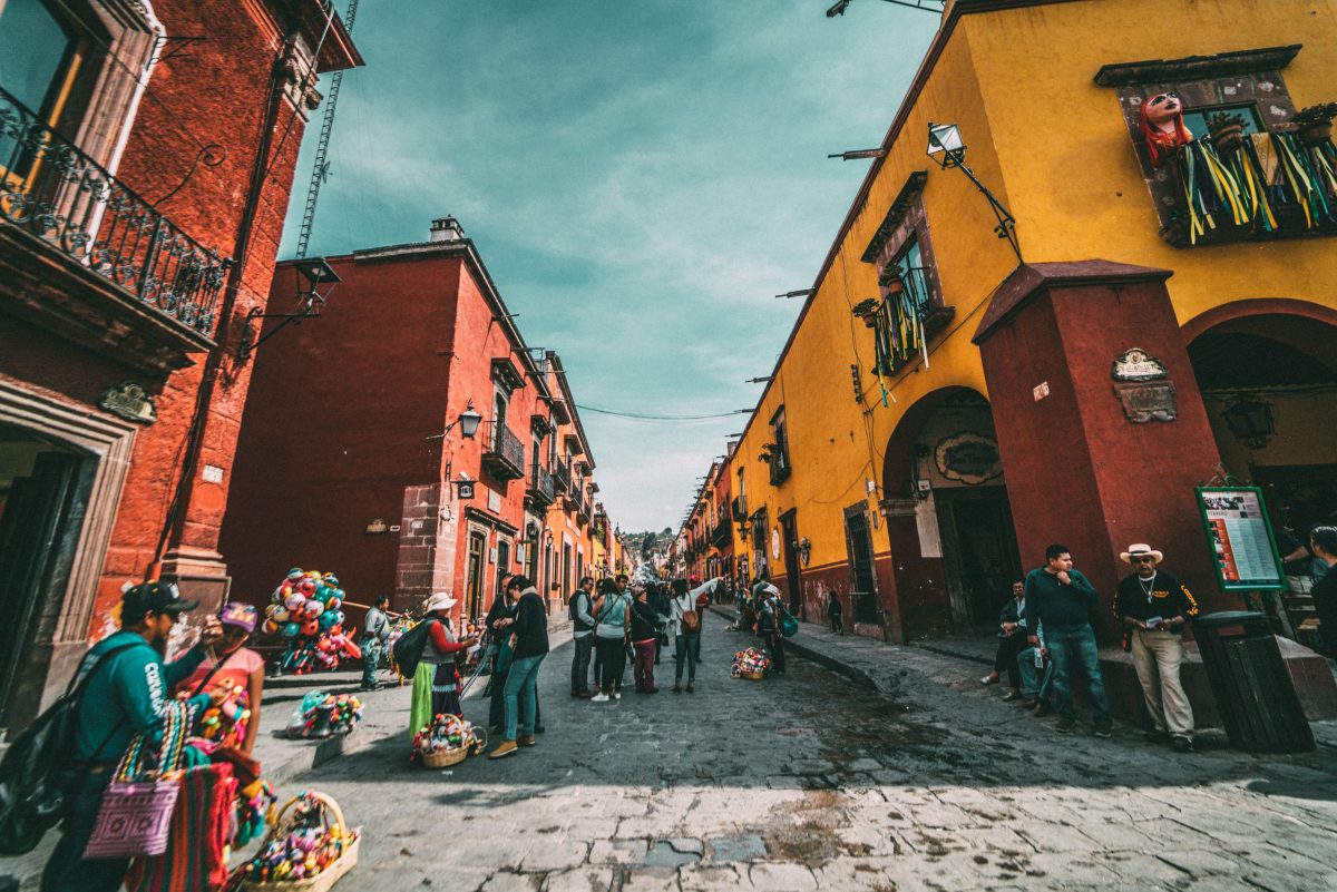 Colorful buildings as an architectural feature in Mexico