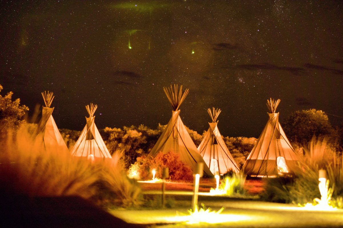 Teepee-style glamping tent on grounds