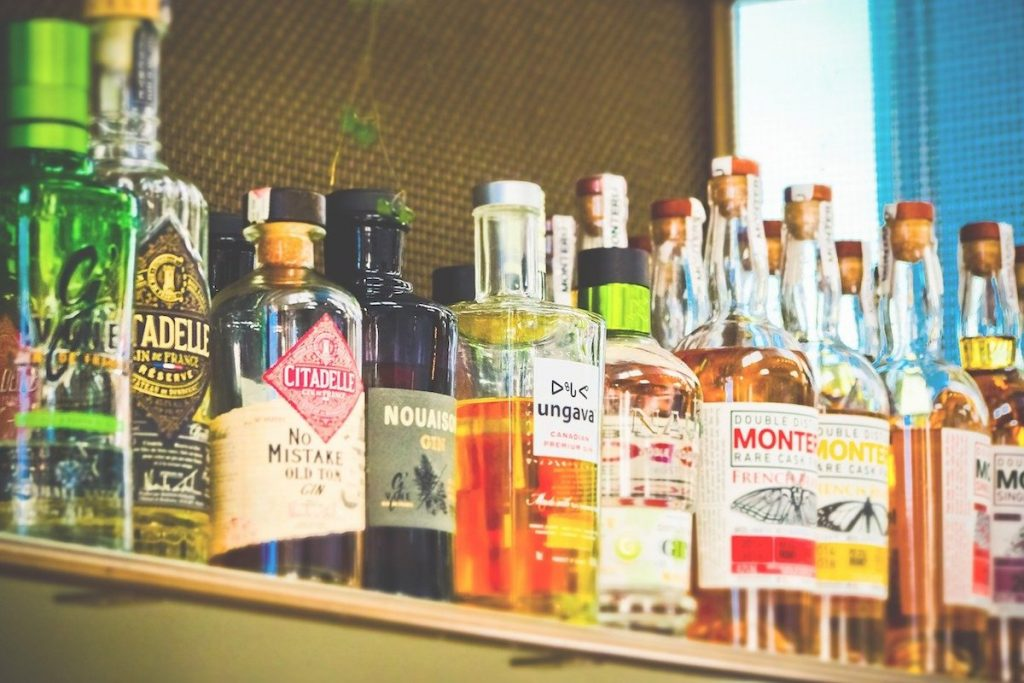 A selection of bottled alcoholic drinks