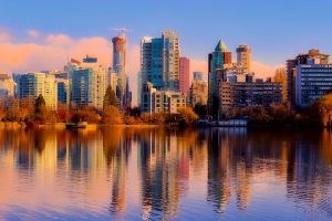 Gorgeous skyline of Vancouver reflected on water