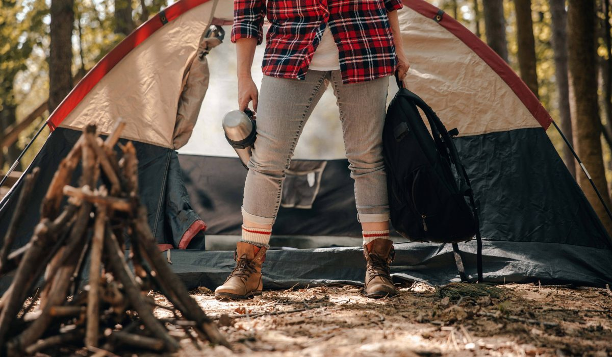 sleeping bag under a tent