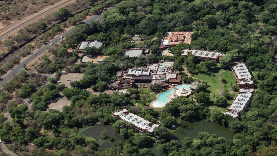 Aerial view of the Luxury Victoria Falls Resort in South Africa.