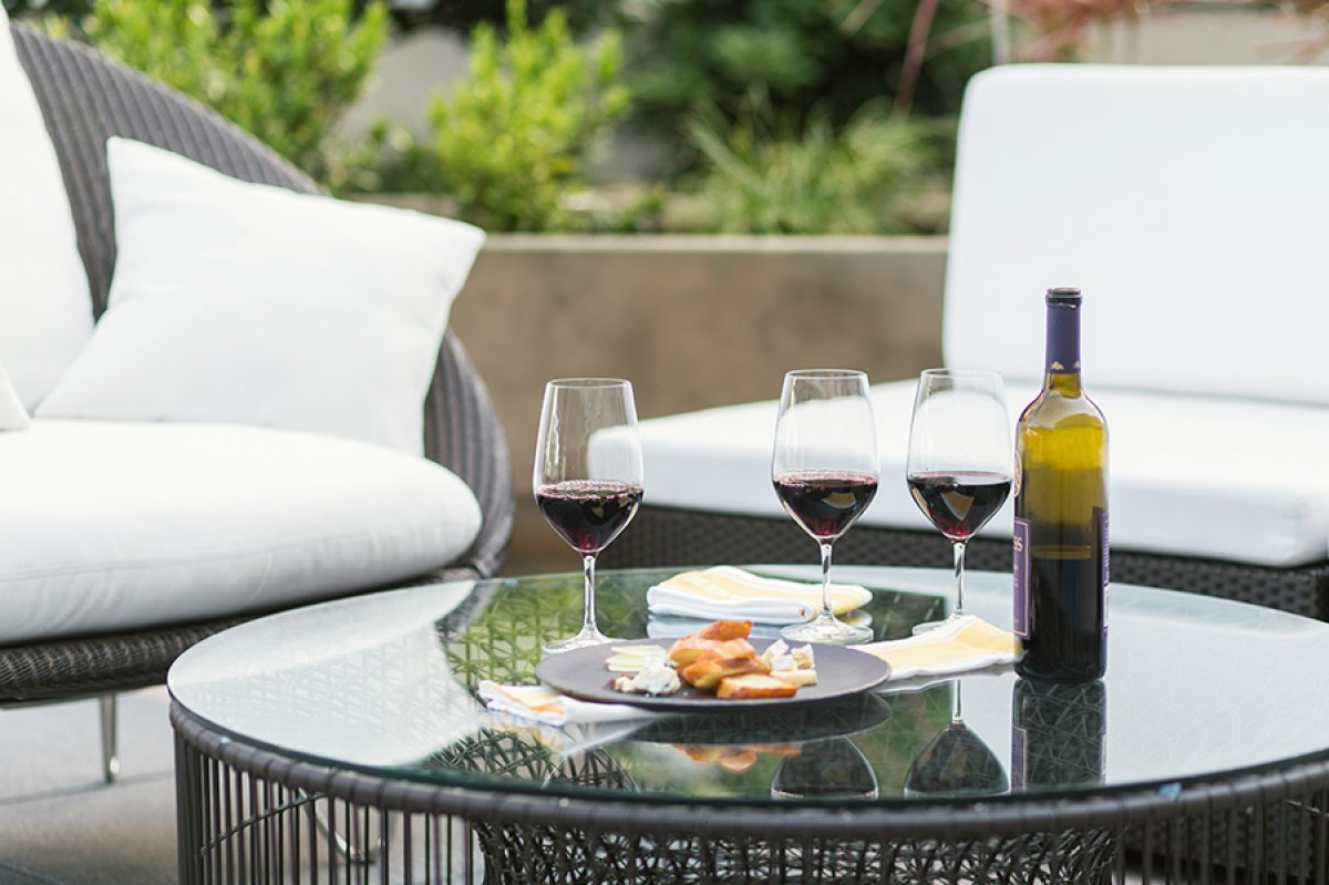 Wine and cheese in the patio of Epicurean Hotel, Tampa, Florida