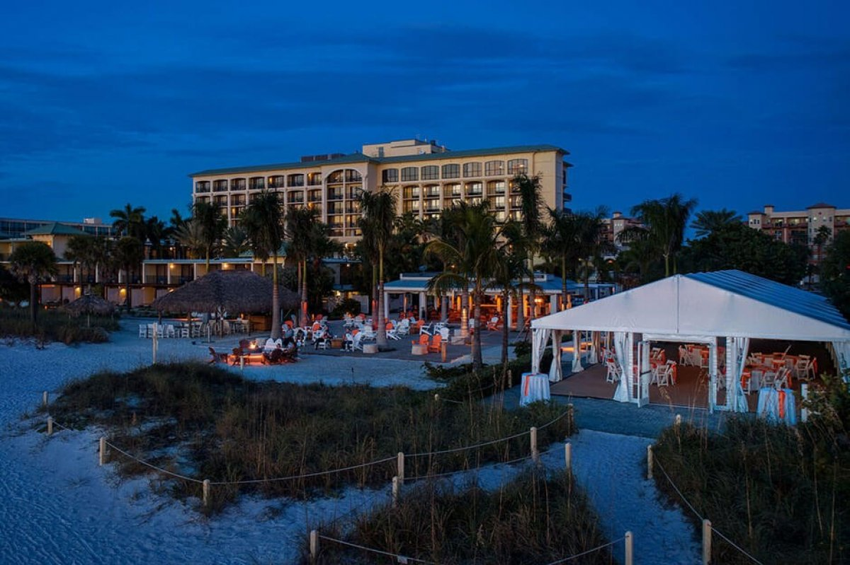 A view of St. Pete Beach against the backdrop of Sirata Beach Resort in Florida