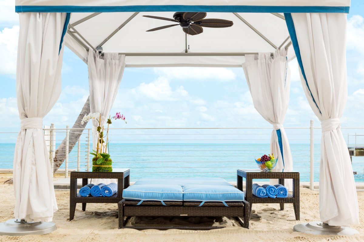 A private cabana on South Beach in Southernmost Beach Resort, Key West, Florida