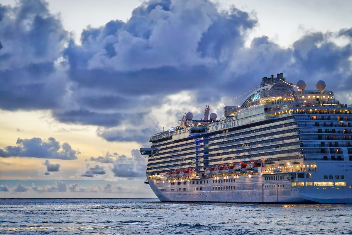 A large cruise ships sails in the open sea near Saint Thomas, US Virgin Islands